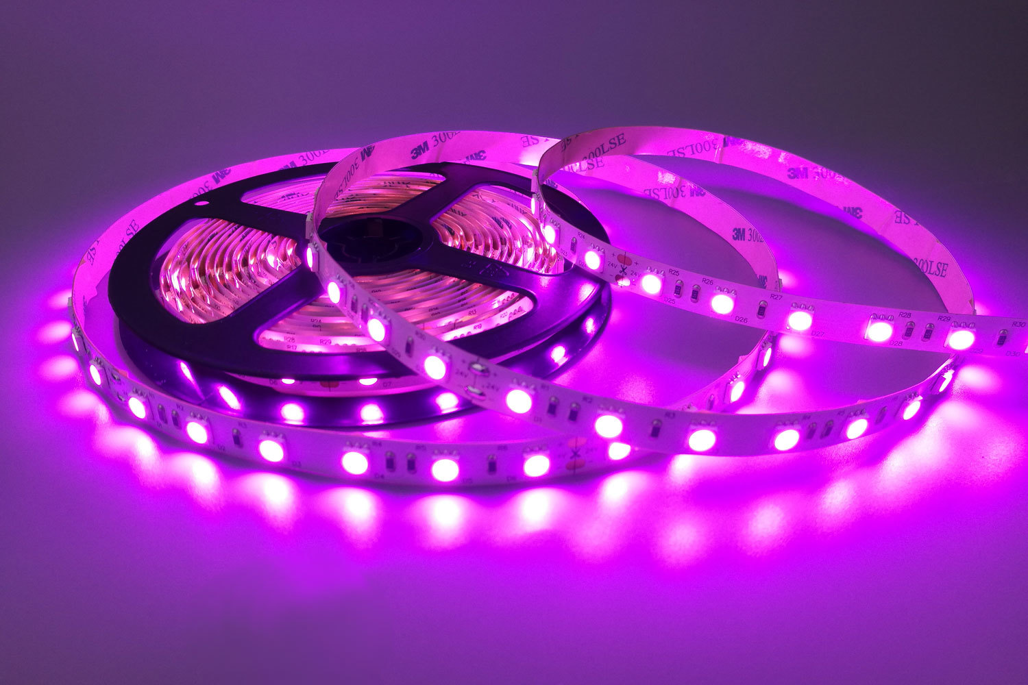 Flexible 16.4' 300 Diodes Pink Color LED Strip Light - DR-5050FX60-24P