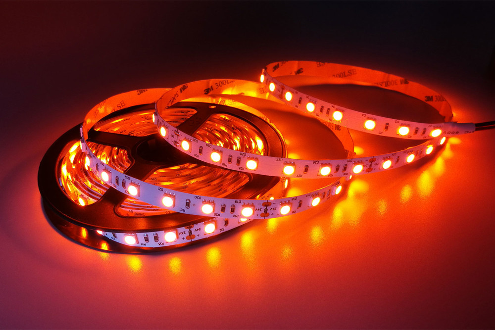 Flexible 16.4' 300 Diodes Amber Color LED Strip Light - DR-5050FX60-24A