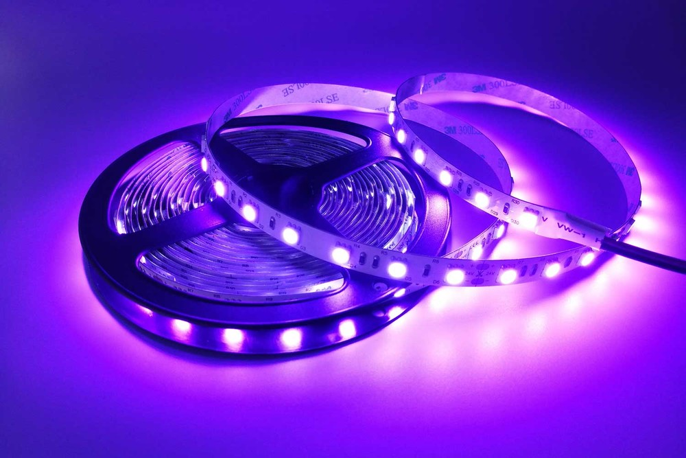 Flexible 16.4' 300 Diodes 420nm LED Strip Light - DR-5050FX60-24-420nm
