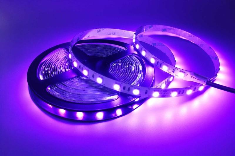 Flexible 16.4' 300 Diodes 420nm LED Strip Light - DR-5050FX60-24-420nm
