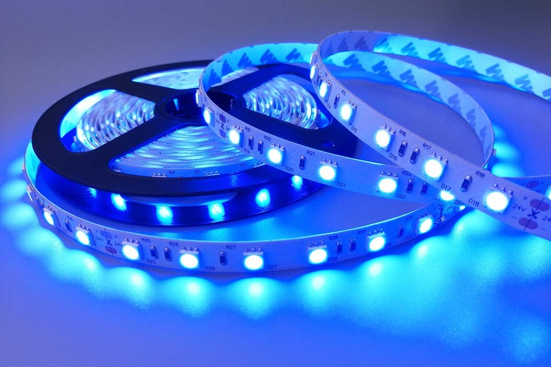 Flexible 16.4' 300 Diodes 470nm LED Strip Light - DR-5050FX60-24-470nm